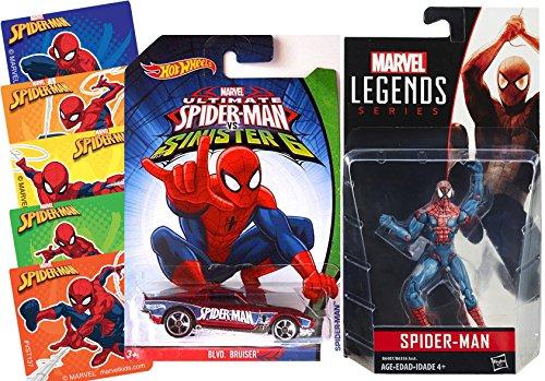 Spider-Man Hot Wheels Die-Cast Ultimate Sinister 6 Car & Legend Series Figure Classic Spider-Man Action + Bonus Stickers