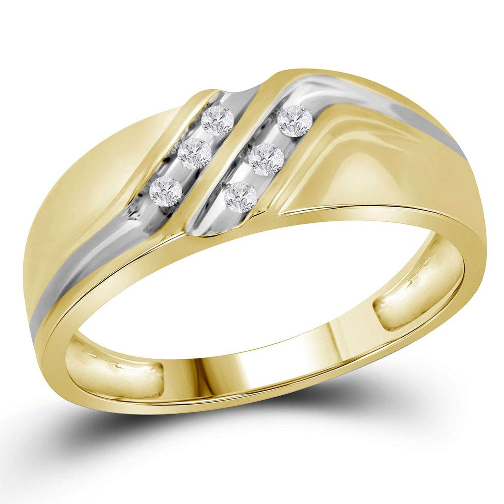 10kt Yellow Gold Mens Round Diamond Double Row Two-Tone Wedding Band Ring 1//8 Cttw