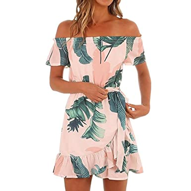 084ad3de03c Anglewolf Womens Hawaiian Dresses Off The Shoulder Floral Short Sleeve  Summer Beach Dress Sundress Ladies Casual Loose Slash Neck Floral Printed  Dress Daily ...