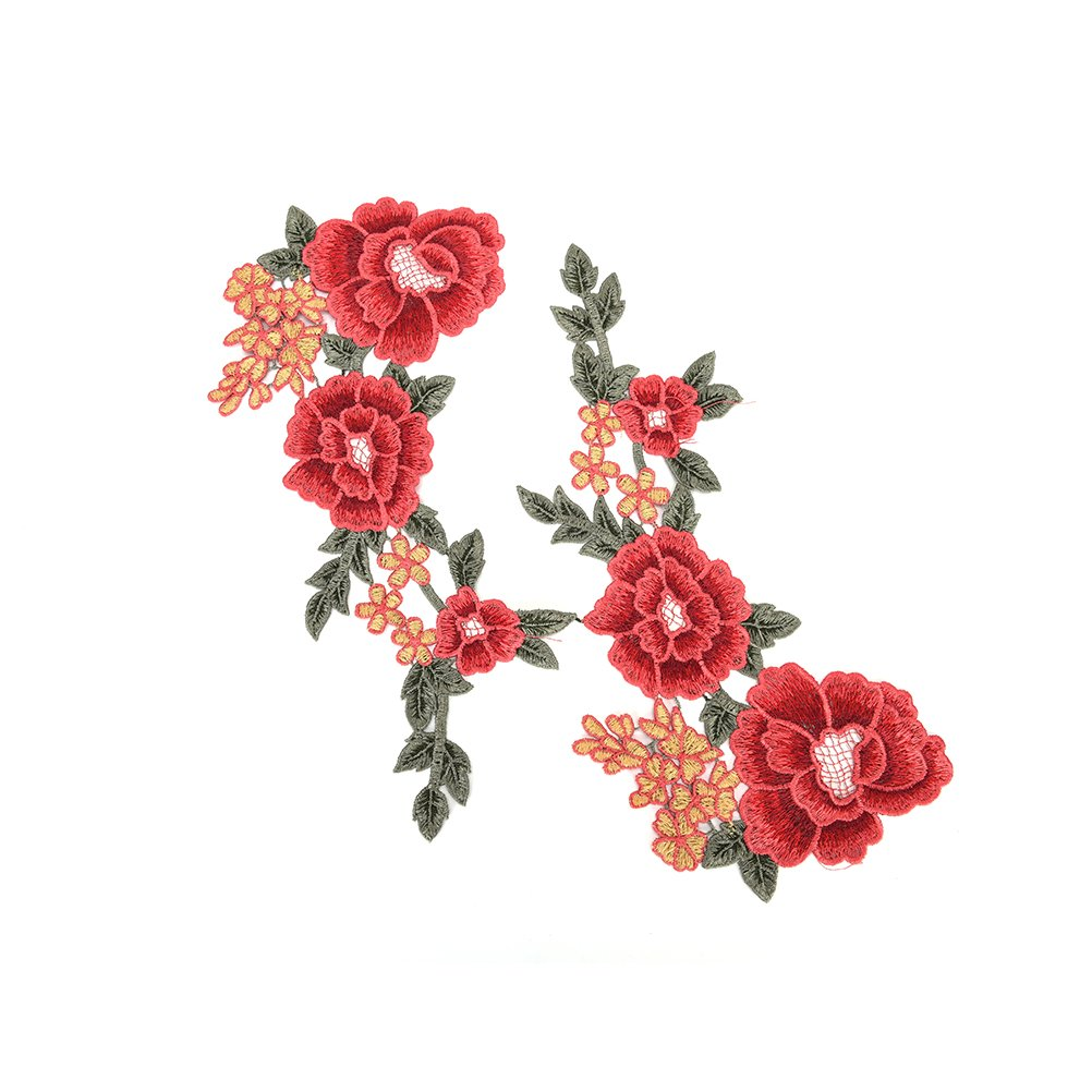1 Pair Red Embroidery Flower Sew On Patch Floral Appliques For Craft,Sewing,Clothing,Scrapbooking Decoration by Sdetter The glass Heart