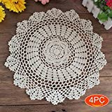 Elesa Miracle 15 Inch 4pc Handmade Round Crochet Cotton Lace Table Placemats Doilies Value Pack, Vintage, Beige, 15 Inch (4pc-15 Inch Beige)