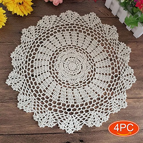 (Elesa Miracle 15 Inch 4pc Handmade Round Crochet Cotton Lace Table Placemats Doilies Value Pack, Vintage, White (4pc-15 Inch White))