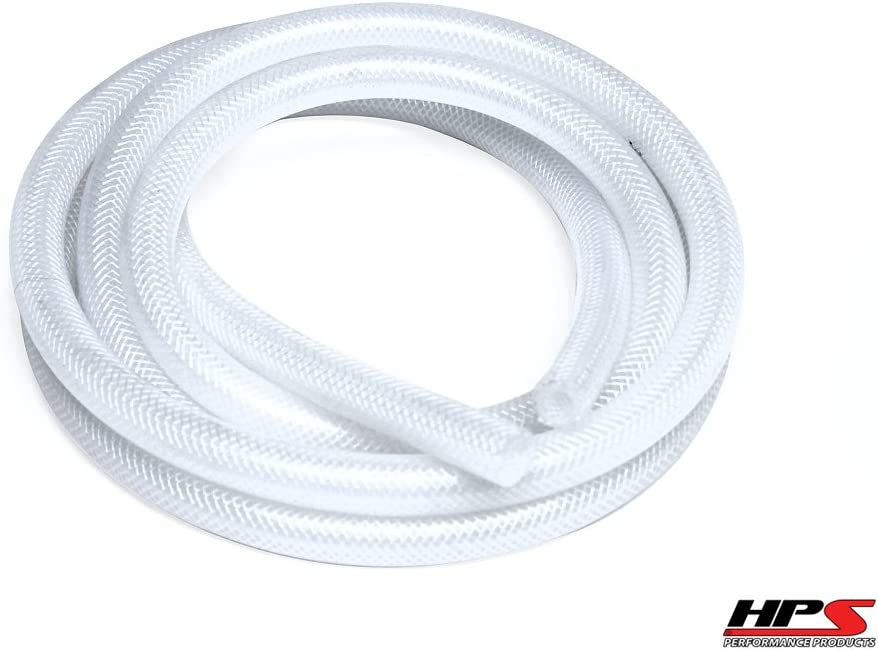 Max Temperature Rating: 350F Max Working Pressure 70 psi Bend Radius: 3 HPS 5//8 ID Clear high temp reinforced silicone heater hose 10 feet roll