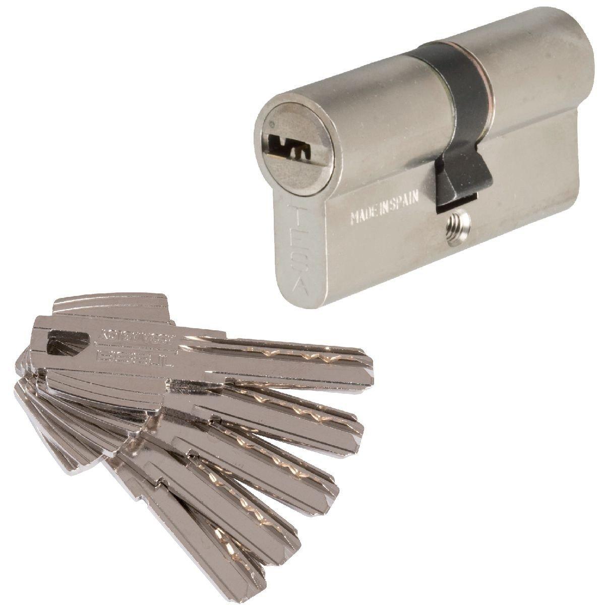 T6553030N - Cilindro de seguridad T60, 30x30 mm, Niquelado: Amazon.es: Bricolaje y herramientas