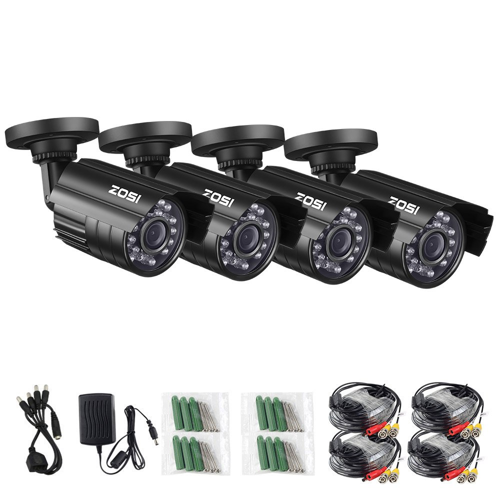 ZOSI 4 Pack 4-in-1 HD TVI/CVI/AHD/CVBS 1280TVL 1.0MP Security Camera 720P Indoor Outdoor Waterproof IP67 Infrared Night Vision Bullet Camera For 720P/1080N/1080P analog DVR systems