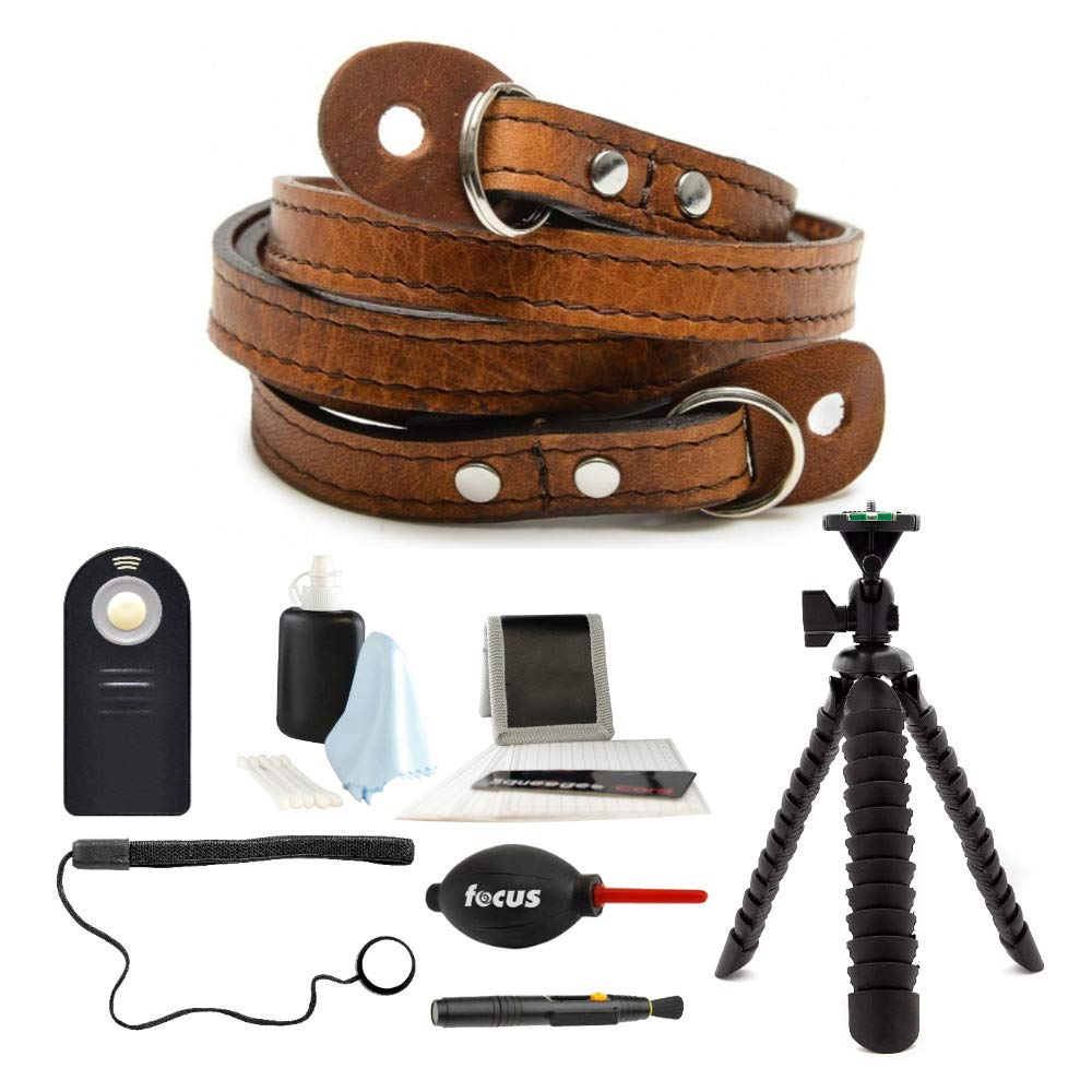 ONA Sevilla 40'' Camera Strap, Handcrafted Premium Leather, Antique Cognac Brown with Focus Camera Photo Accessory Bundle