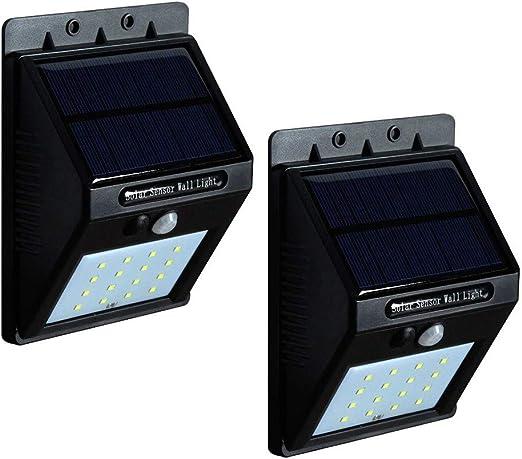 MITI - Lote de 2 lámparas solares para Exterior, Foco LED para jardín, lámpara de Seguridad, Detector de Movimiento, Impermeable, inalámbrica, para Corte, Garaje, sótano: Amazon.es: Hogar