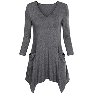 4bf89ff9bba5 Viahwyt Women Plus Size Loose Casual Plain Irregular Long Sleeve T Shirt  Dress Blouse Pullover Tunic Hem Tops with Pocket: Amazon.co.uk: Clothing