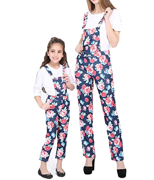 b75effcaa14 Family Matching Clothes Mother Daughter Overalls Jumpsuit Floral Strap  Romper Pants Parent-Child Leggings Trousers