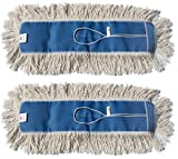 Nine Forty Industrial Strength Ultimate Cotton Floor Dust Mop Refill | Commercial Cleaner Mop Head Replacement (2 Pack, 24'' Wide X 5'')