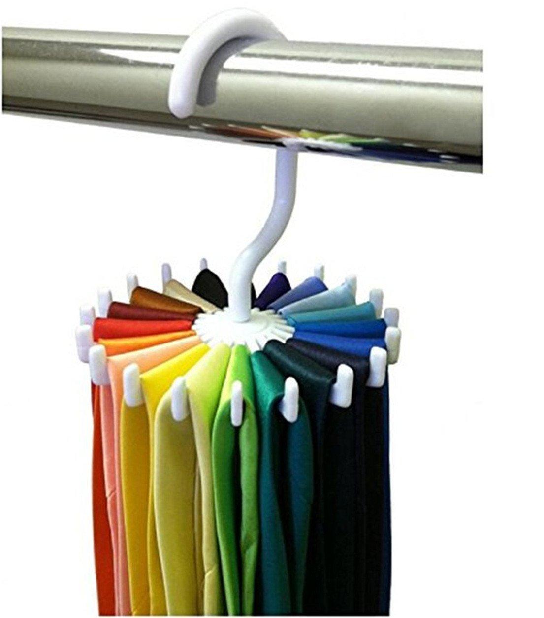 1 PC 360 Degree Rotating Twirl Tie Rack Adjustable Tie Belt Scarf Hanger Holder Hook Ties Scarf for Closet Organizer Storage