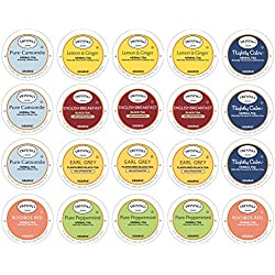 Twinings Herbal & Decaffeinated Tea Sampler - 20 Count Assorted Keurig 2.0 K-Cups - With 10 By The Cup Honey Stix