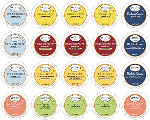 (Twinings Herbal & Decaffeinated Sampler - 20 Count Assorted Keurig 2.0 K-Cups - With 10 By The Cup Honey Sticks)
