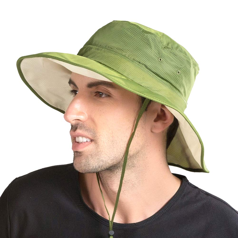 Men's rain hat Outdoor UV Protection Foldable Mesh Wide Brim Beach Fishing Hat(Green)