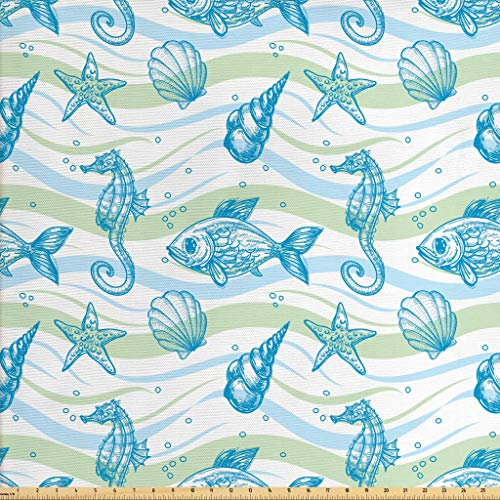 Ambesonne Nautical Fabric by The Yard, Marine Ocean Shell Starfish Oyster Mollusk Sea Horse Underwater Aquatic Pattern, Decorative Fabric for Upholstery and Home Accents, 3 Yards, Mint Blue