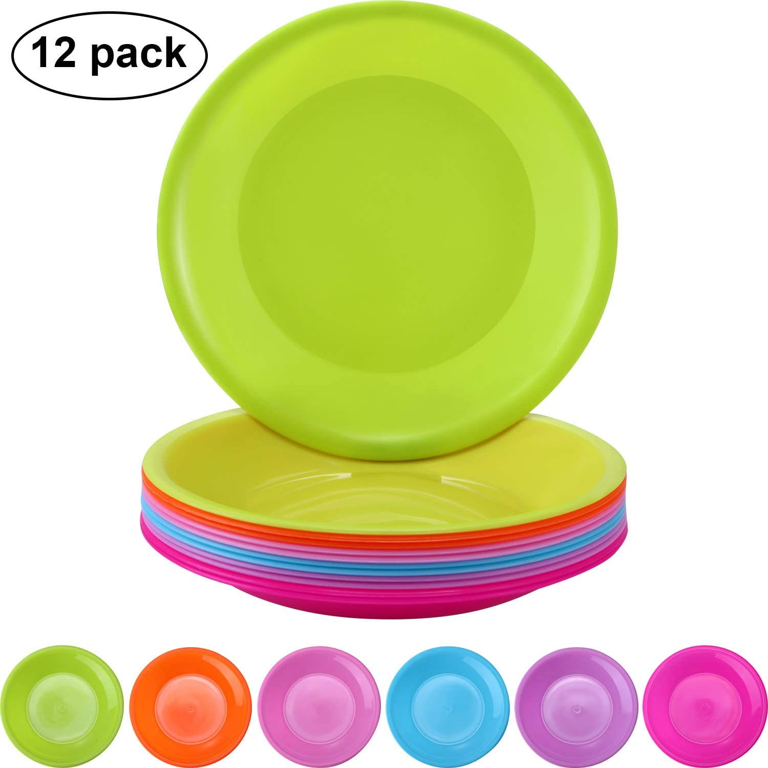 12 Pieces Colorful Plate Set Plastic Snack Plate Small Plates Picnic Plates, Microwave and Dishwasher Safe, 6 Colors