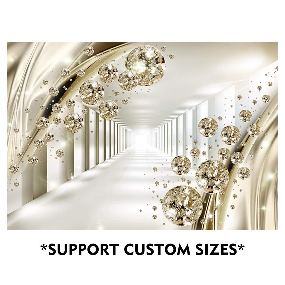 SUMGAR 3D Large Wall Murals Bedroom Wall Art Gold Crystal Self Stick Modern  Custom Wallpaper Space Decals,100x144 in