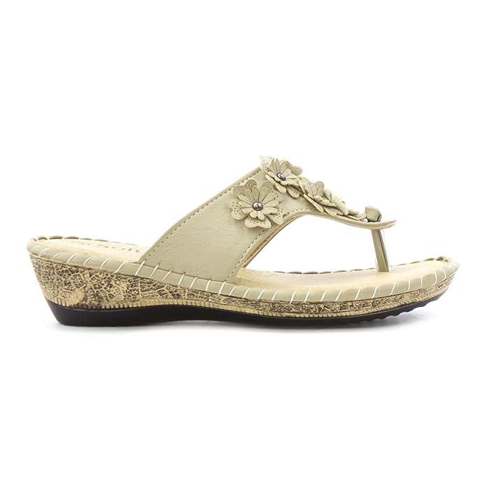 Softlites Damen Schwarz Zehensteg-Sandale mit Blume - Größe 3 UK/35.5 EU - Schwarz 845SLq8UtT