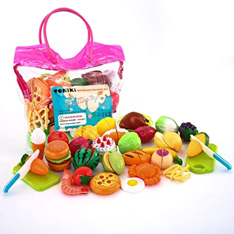 b5bef0f4c64da Amazon.com  SONi 32PCS Cutting Toys Pretend Food Fruits Vegetable Playset Educational  Learning Toy Kitchen Play Boy Girl Kid with Handbag Packing  Toys   ...