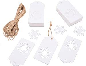 Livvd 100 Pieces Paper Gift Tags Kraft Tag Snowflake Shape Hang Labels with Twine for Christmas Wedding Birthday Thanksgiving (White)