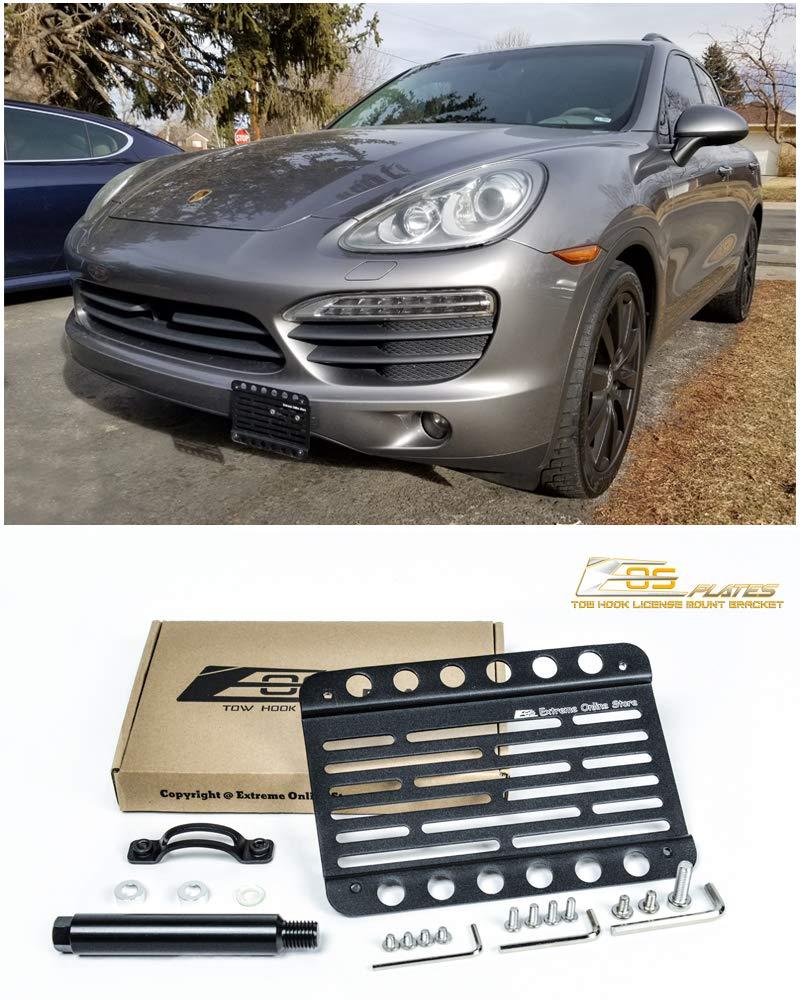 Xotic Tech Black Aluminum Bumper Tow License Plate Mount Bracket for Porsche Cayenne 2011-2017