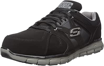Skechers for Work Men's Synergy Ekron Work Shoe, Black/Charcoal, 9 W US