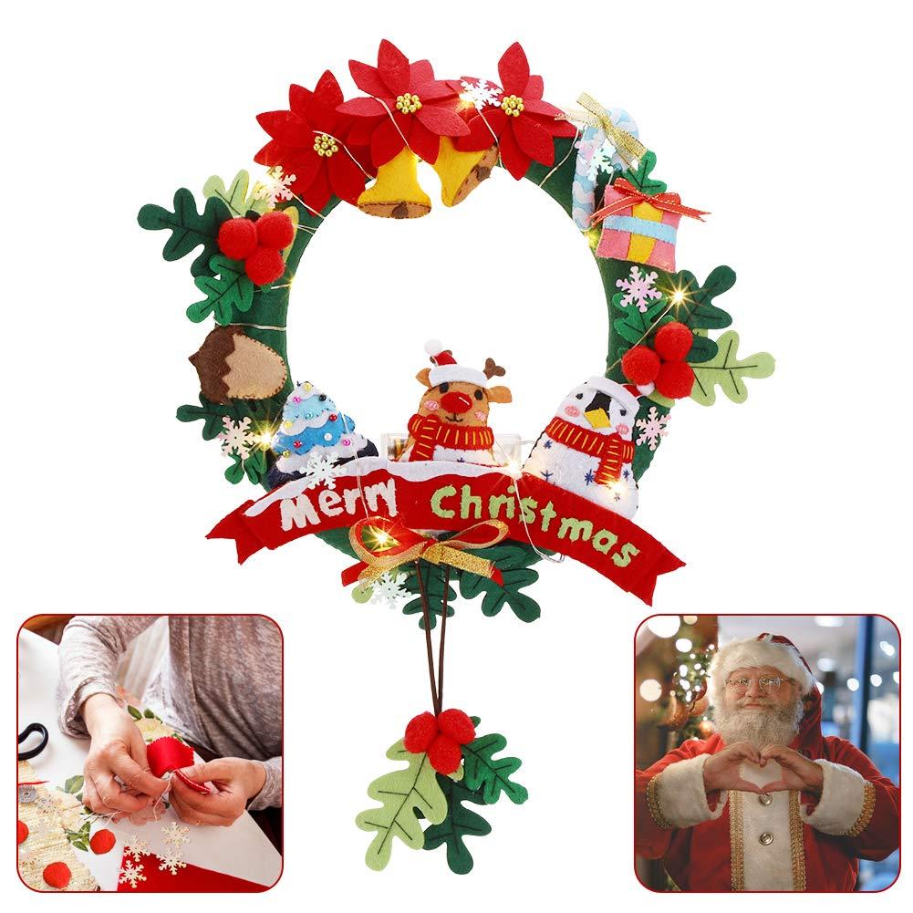 Christmas Felt Wreath Kits - 11-Inch Round Felt Applique Wreath, Multicolor Felt Applique Ornament Kits with 2M String Lights Exblue