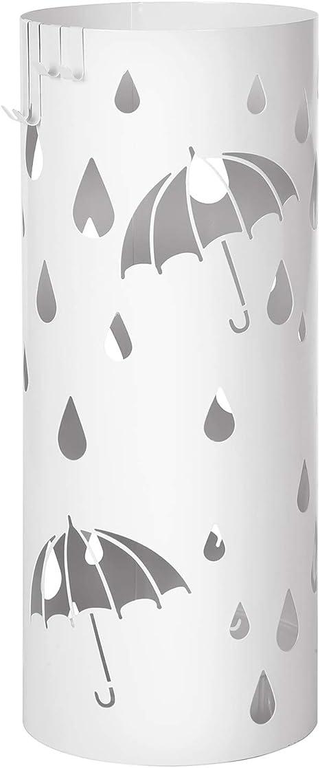 Rond SONGMICS Porte parapluies en M/étal 49 x /Ø 19,5 cm avec Un Plateau et Crochets Support pour Parapluies Blanc LUC20W