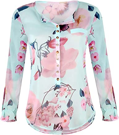 Tops para Mujer Floral Botón Camiseta Casual Impreso De Mode ...