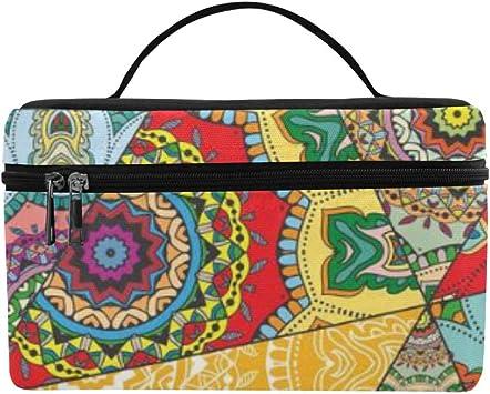 Vintage Patchwork Decorativo Gran Capacidad Tamaño Perezoso Maquillaje cosmético Bolsa Estuche de Aseo para niñas Adolescentes Las Mujeres viajan con una Cremallera y una Capa: Amazon.es: Equipaje
