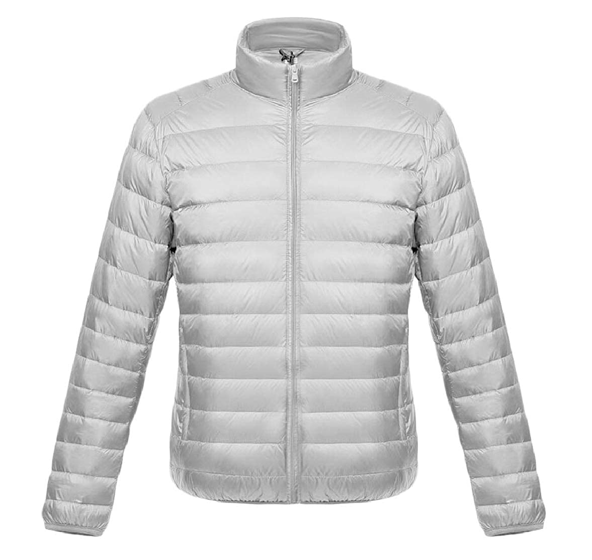 Smeiling Mens Solid Stand Collar Ultra Lightweight Front-Zip Down Jacket Coat