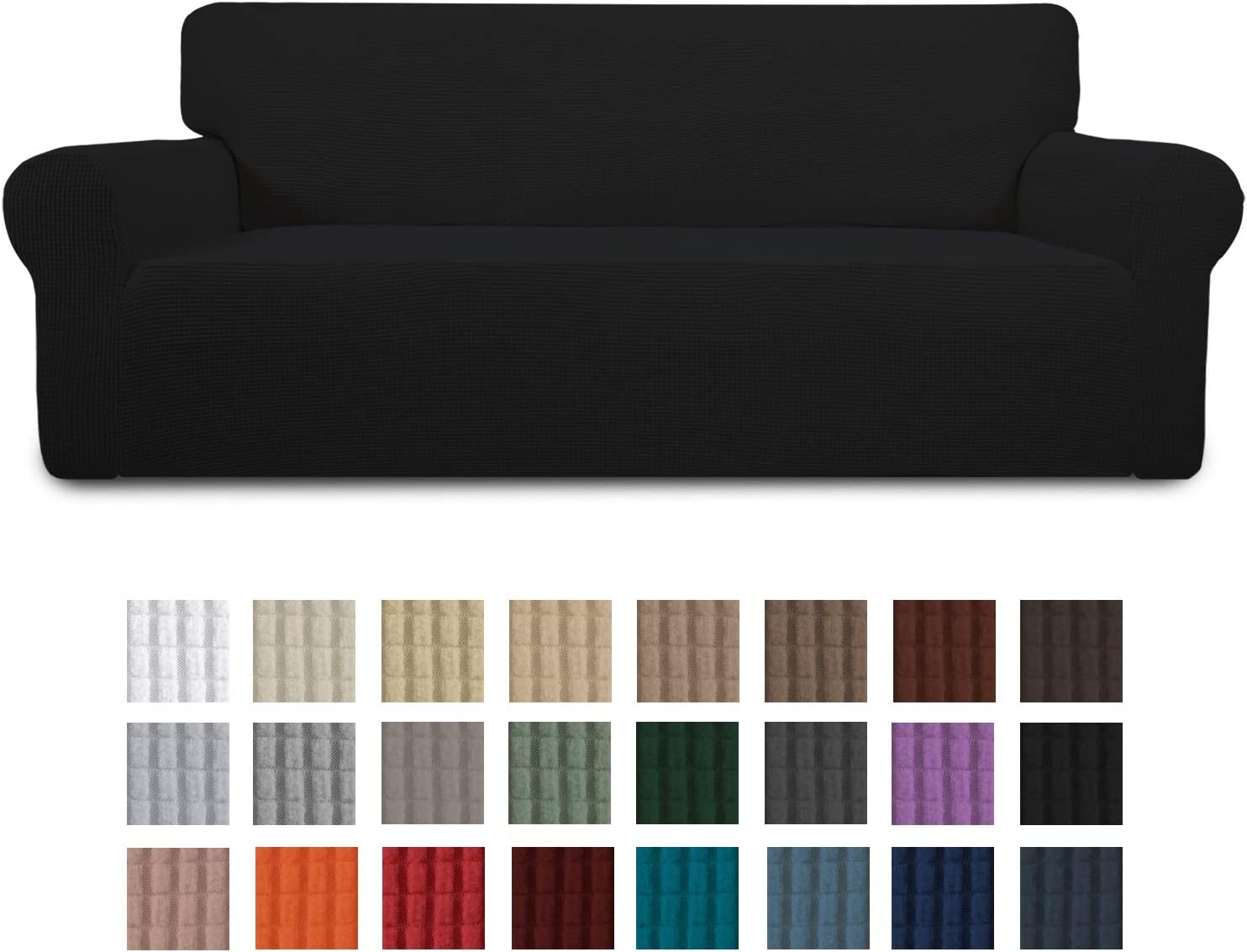 Easy-Going Stretch Sofa Slipcover 1-Piece Couch Sofa Cover Furniture Protector Soft with Elastic Bottom for Kids, Spandex Jacquard Fabric Small Checks (Large, Black)