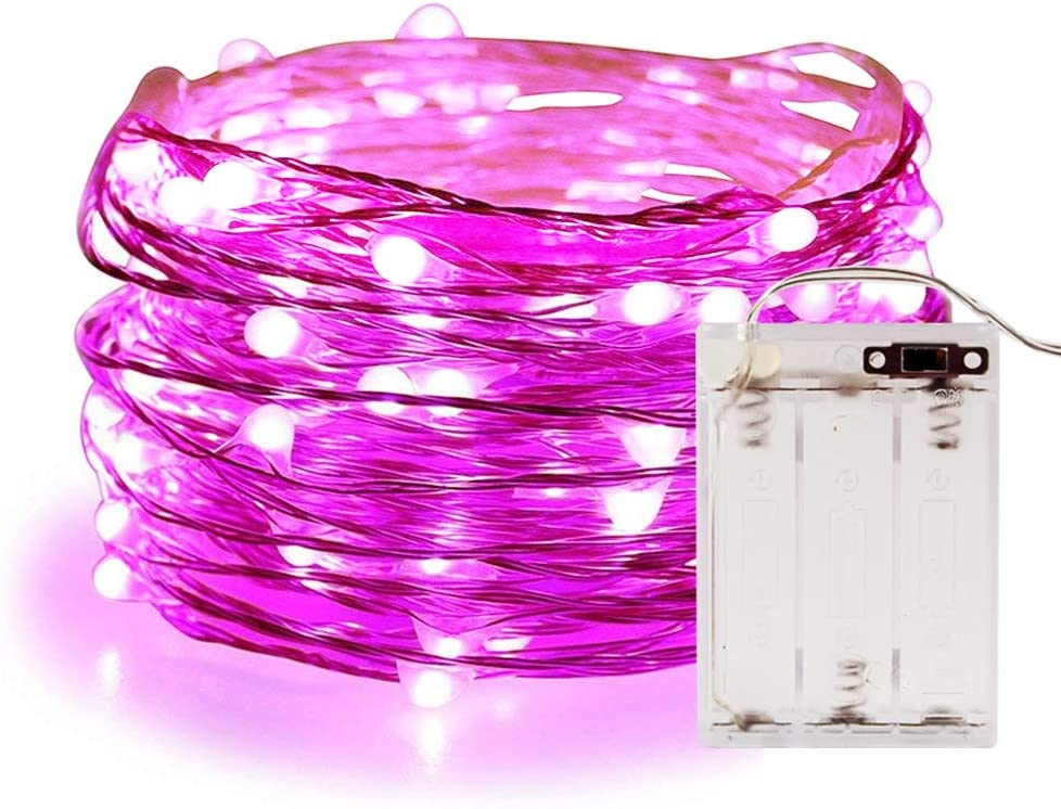 String Lights,ANJAYLIA 10Ft/3M 30leds Bright light Party Home Festival Decorations Battery Operated Lights(Pink)