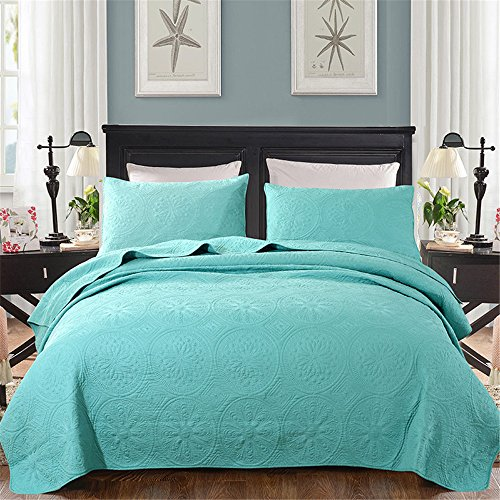YEVEM Solid Paisley Embroidery Cotton Aqua Green Quilt Bedding Sets 3 Piece Soft Luxurious All Season Bedspread Coverlet Set Full/Queen, 91 by 98 Inch, Style B by YEVEM