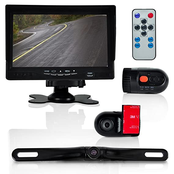 Pyle Dash Cam Car Recorder - Front & Rear View Camera 7 Inch Monitor  Windshield Mount Full Color HD 1080p DVR Video Security Camcorder for  Vehicle -