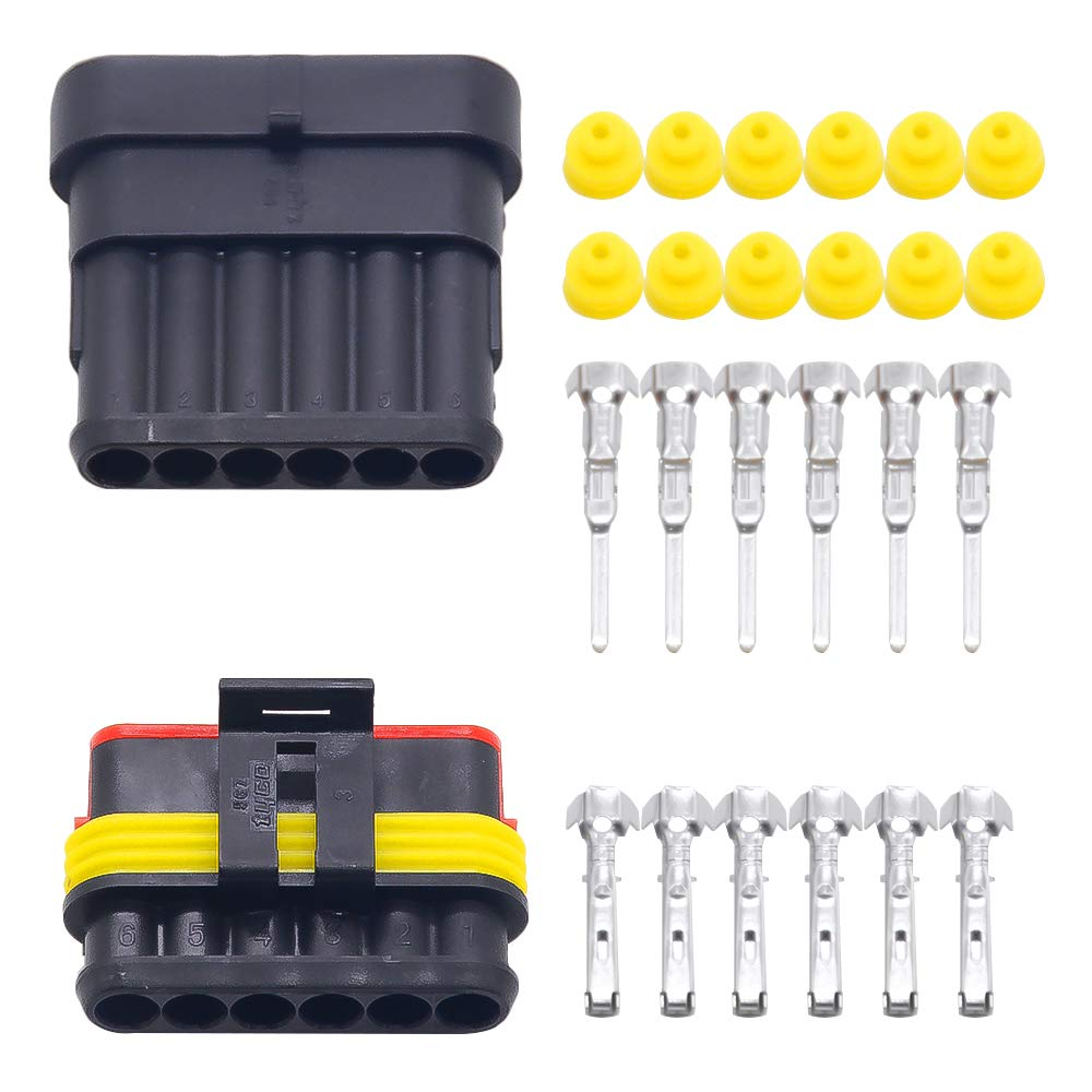 10 sets Kit Way Super seal 6 pin Waterproof Electrical Wire Connector Plug for car used for 16-22awg (6P) Kaifa