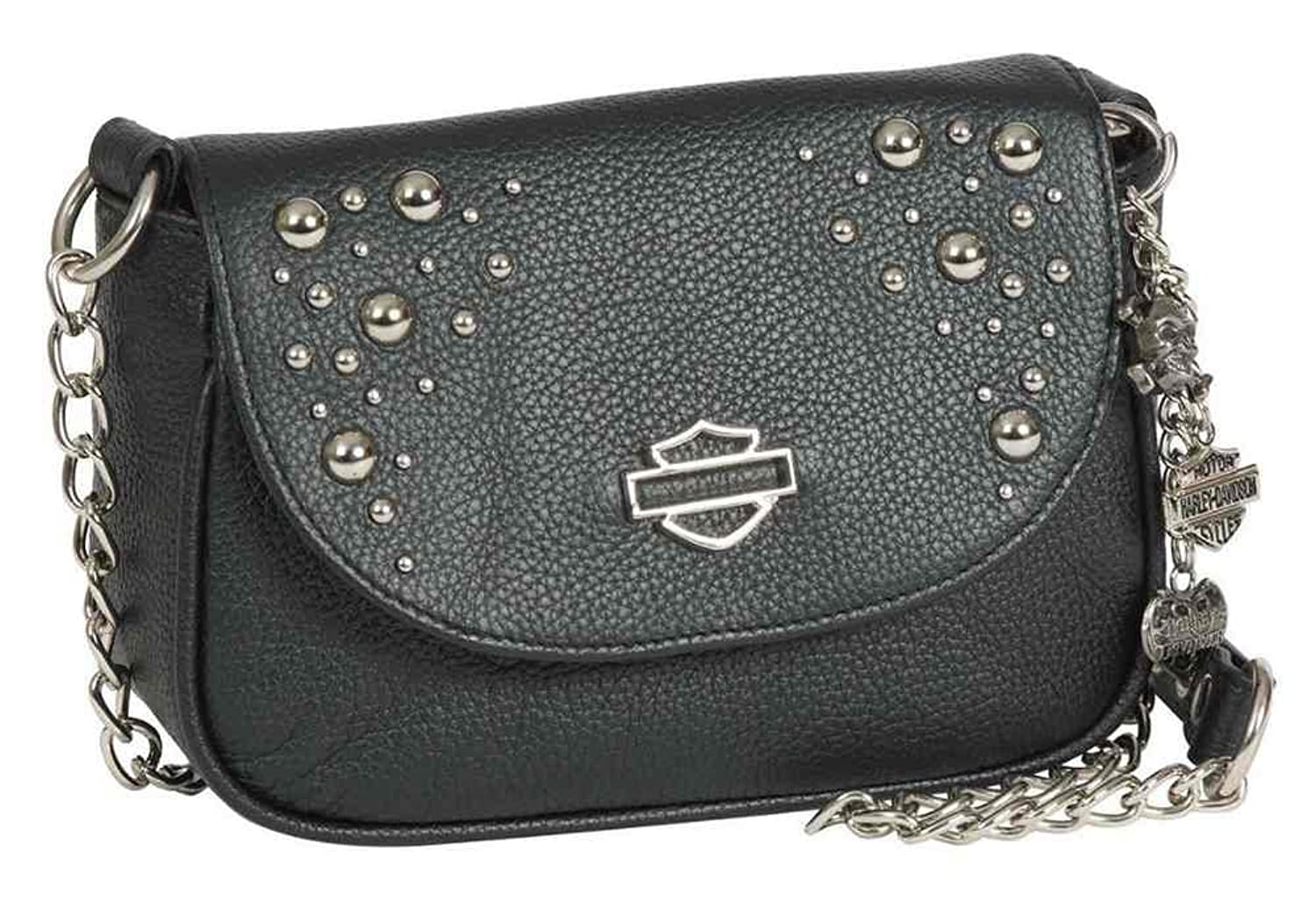 Harley-Davidson Women's Rider Studded Bodega Purse, Black Leather RD6255L-BLACK