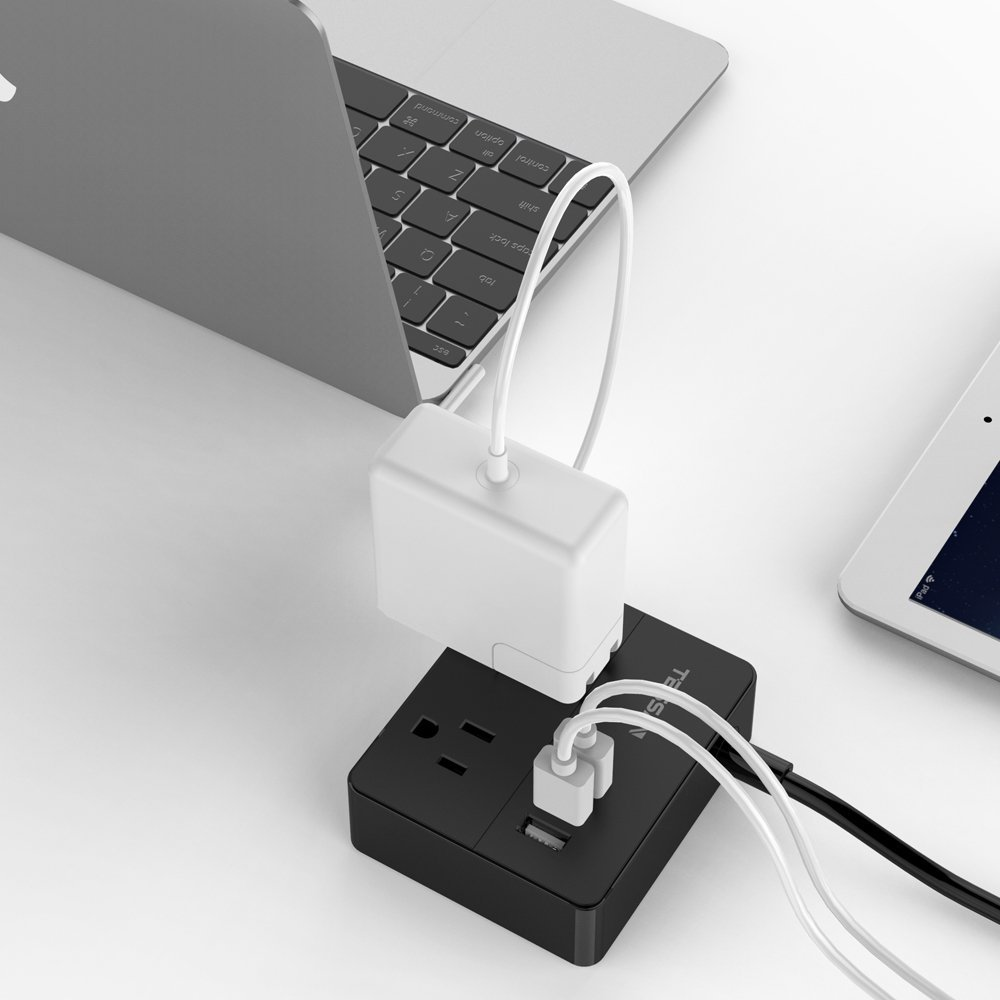 TESSAN Portable 2 Outlet Travel Power Strip with 3 USB Ports Charging Station 5 Ft Cord-BLACK by TESSAN (Image #8)