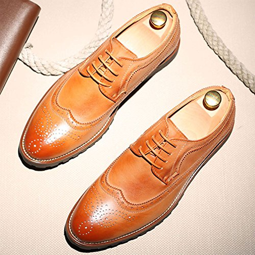 Pp Moda Uomo Elegante Vera Pelle Intagliata Casual Oxford Fatti A Mano Allacciare Stivali Stile Britannico Nero