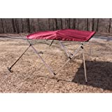 """New Burgundy Vortex 3 Bow Bimini Top 6' Long, 67-72"""" Wide, 46"""" High, Complete Kit, Frame, Canopy, and Hardware (FAST SHIPPING - 1 TO 4 BUSINESS DAY DELIVERY)"""