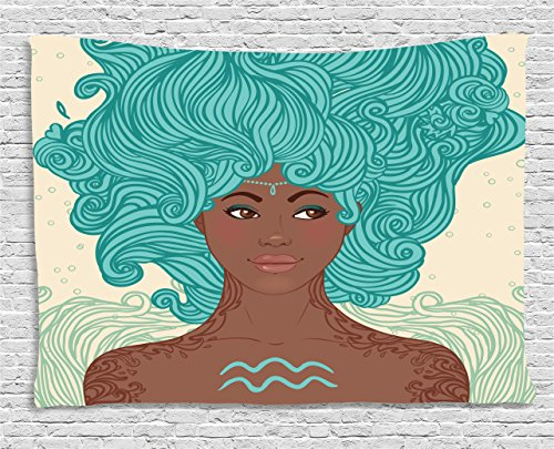 (Ambesonne Zodiac Aquarius Tapestry, African Ethnic Lady Beauty Girl Fantasy Portrait Tribal Portrait, Wall Hanging for Bedroom Living Room Dorm, 60 W X 40 L Inches, Pale Green Teal Brown)