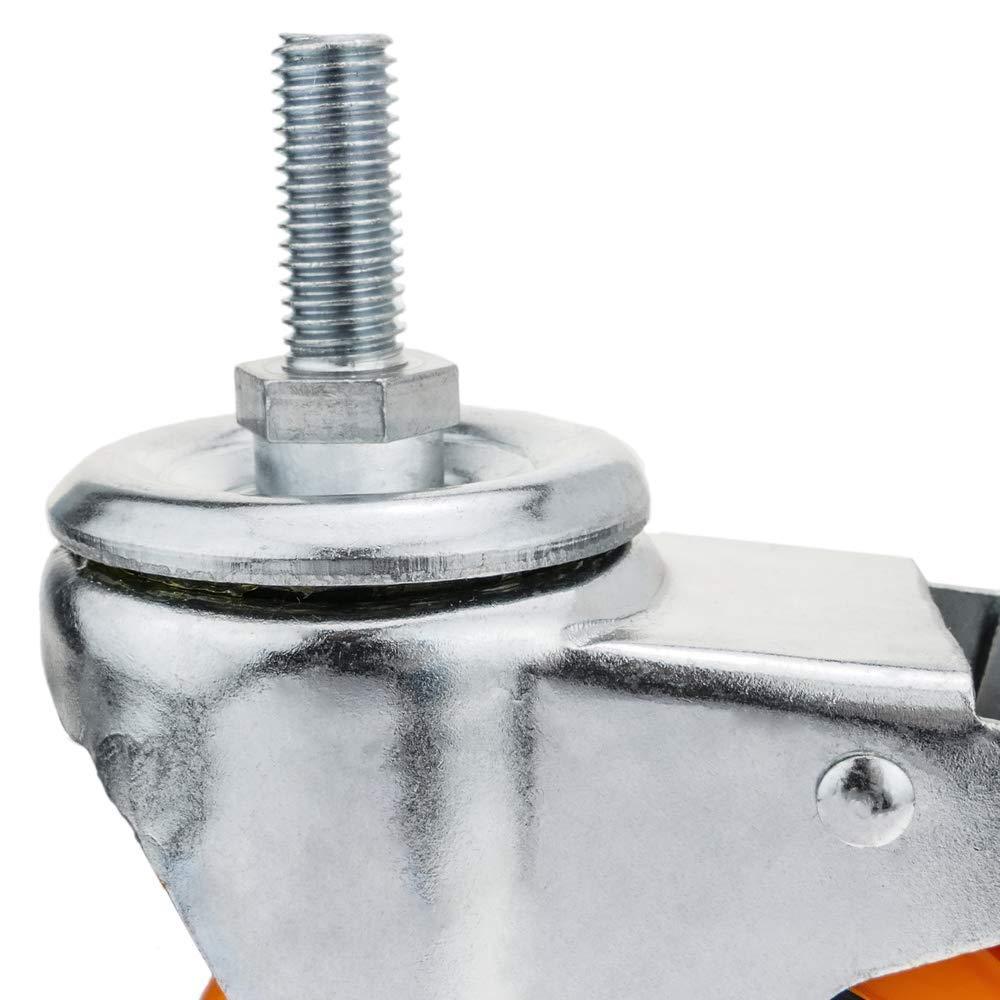 Rueda pivotante Industrial de Poliuretano con Freno 100 mm M12 4-Pack PrimeMatik