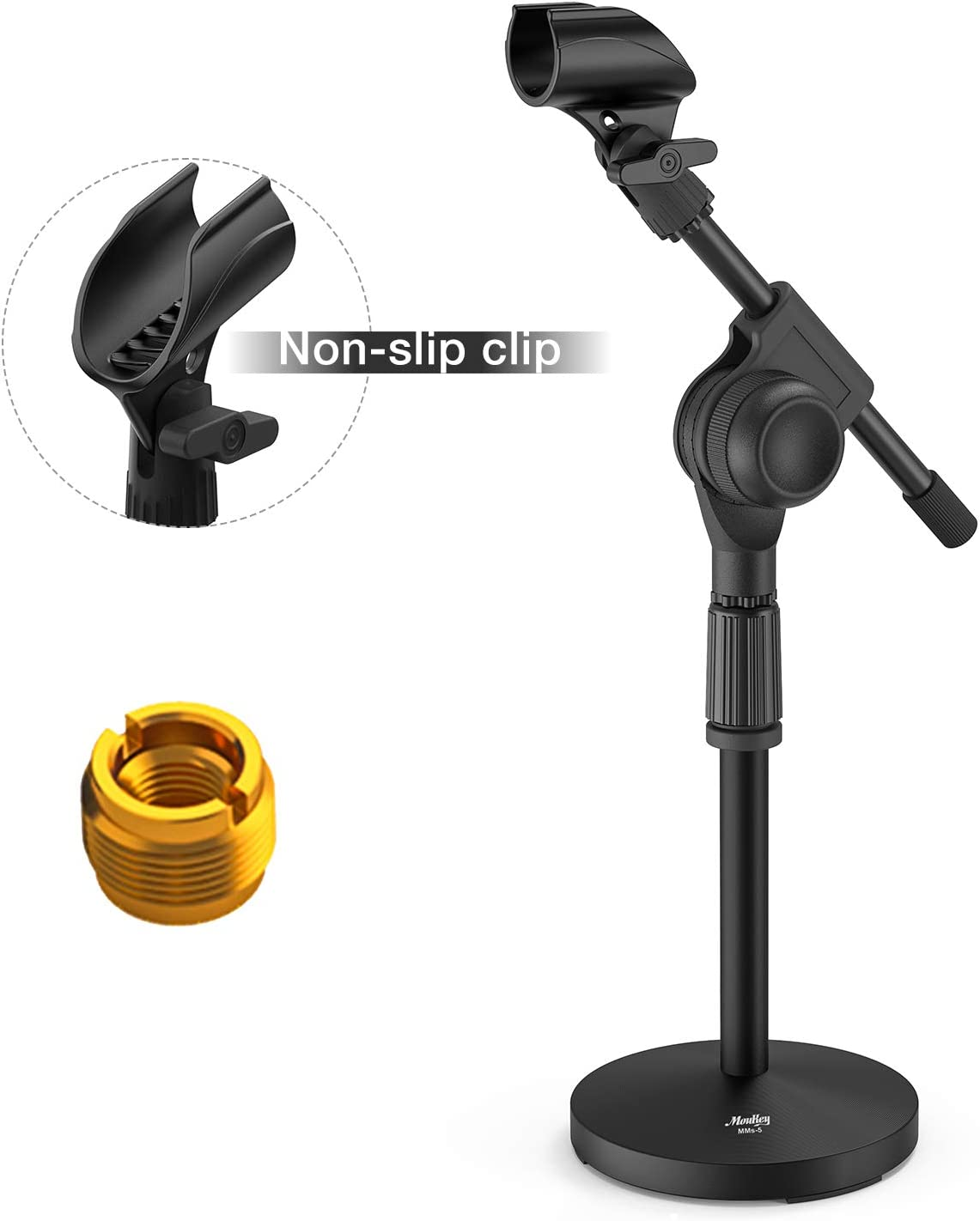 "Moukey MMS-5 Adjustable Desk Mic Stand Desktop Tabletop Table Top Short Microphone Stand with Gear Fixing, Boom arm, 3/8"" and 5/8"" Adapter; Base Dimensions - 5.5 inch Diameter"