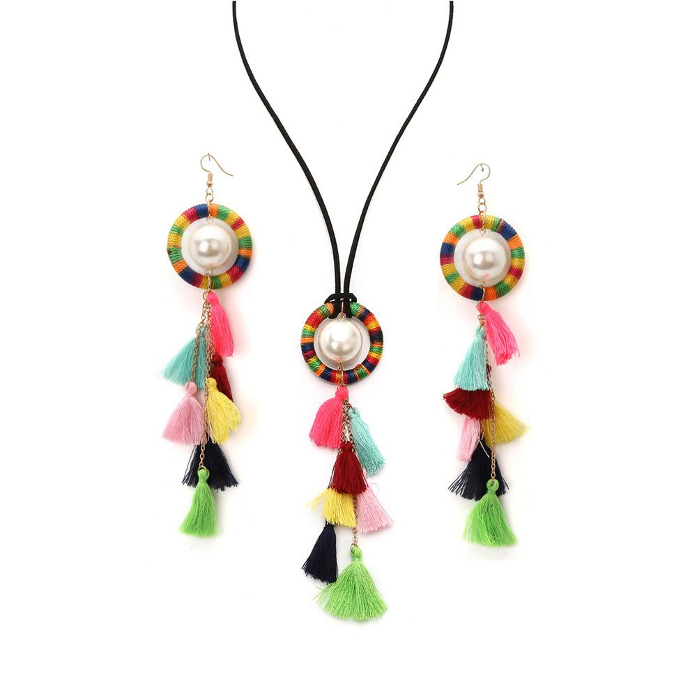 Mrotrida Tassel Necklace Set for Women Girls Big Ethnic Bohemia Long Pearl Pendants Statement Choker Necklace with Tassel Earrings for Dress T-Shirt Bikini Multicolor