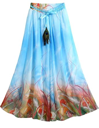 e1da2a9e09 Ashir Aley Long Floral Peacock Printed Bohemian Full Length Blue Maxi Skirt  (M
