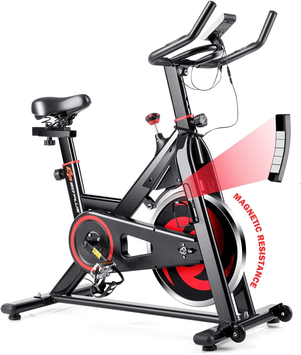 GYMAX Indoor Magnetic Bike, Stationary Belt Drive Bicycle, Quiet Exercise Bike w LCD Monitor for Home Gym Cardio Workout