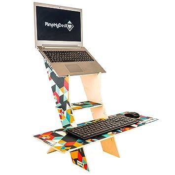 PimpMyDesk Escritorio portátil de pie de fácil Soporte, Escritorio Colorido de Madera, Apto para portátil fácil de Montar. Conversor de Escritorio Sentado y ...