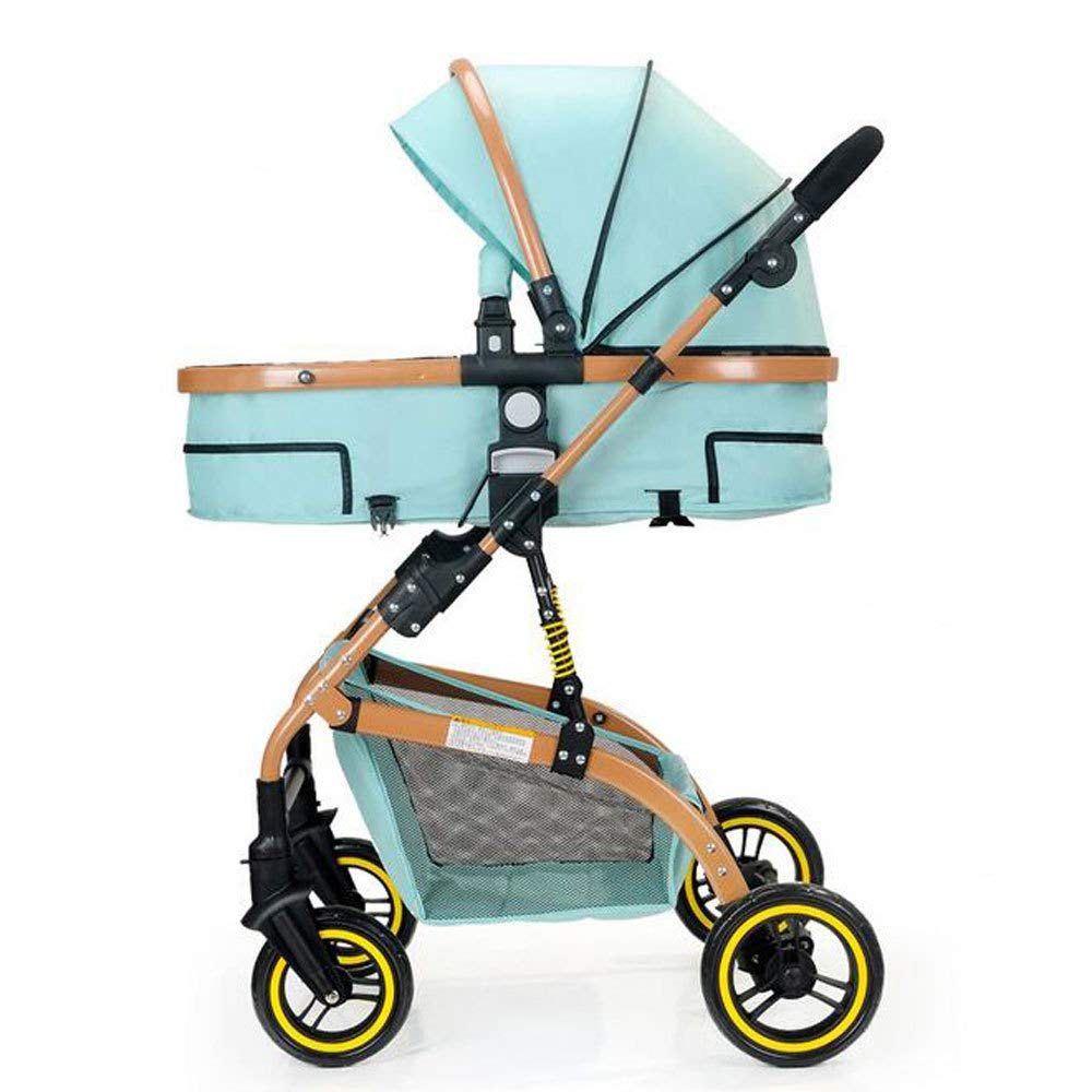 B RAQ Baby strollers Aluminum alloy ultralightweight folding can sit can lie high landscape umbrella baby trolley (color   E)