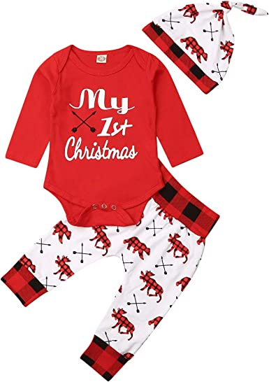 USA Newborn Baby Boys Girls My 1st Christmas Tops Romper Pants Hat 3PCS Outfits