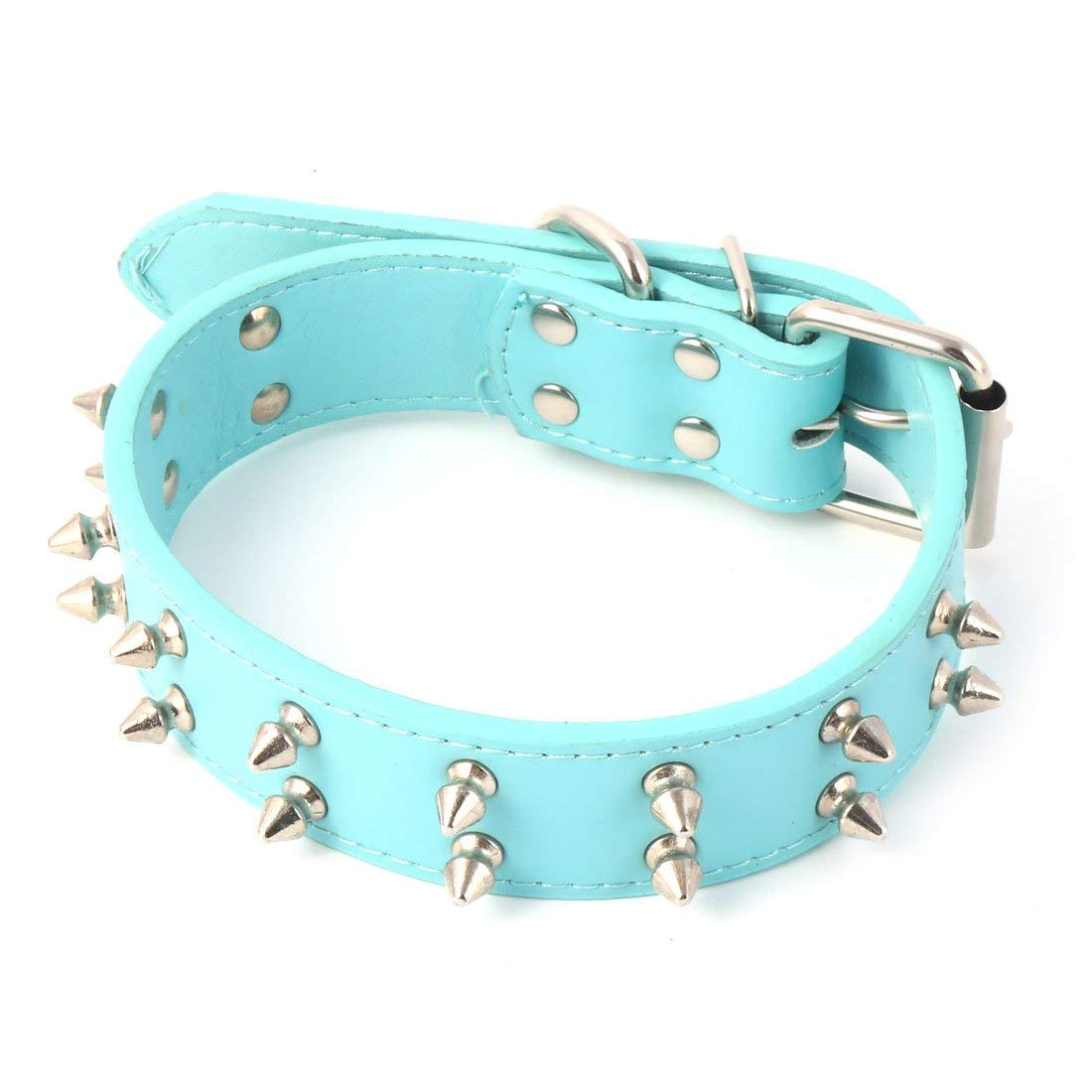 Faux Leather Pet Dog Puppy Two Rows Rivets Studded Metal Buckle Collar Neck Strap